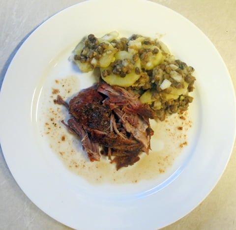 Gulløye og pulled pork, tallerken3