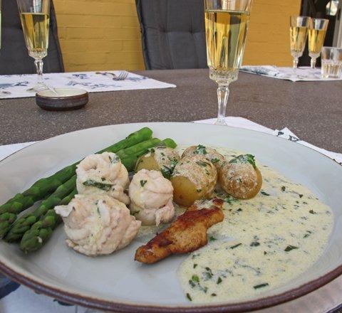 Sjøtunge med asparges, retten3