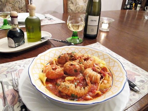Scampi m pappardelle