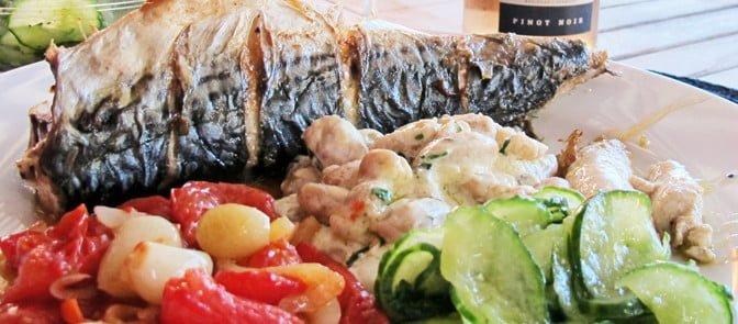 Grillet makrell, ute eller inne.