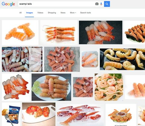 Scampi tails Google