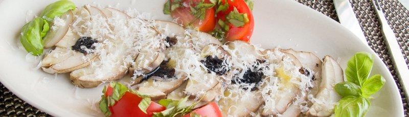 Steinsoppcarpaccio og krabbe