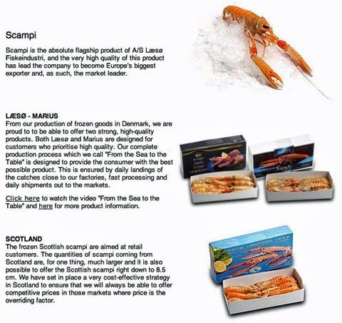 Bildet viser produktet scampi fra Europas, og da sannsynligvis verdens største eksportør av scampi; Læsø Fiskeindustri. Eller sjøkreps som det heter på norsk.